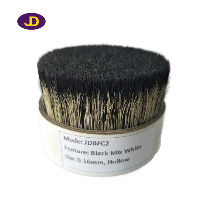 0.16mm Black hollow filaments mixed natural white pig bristles