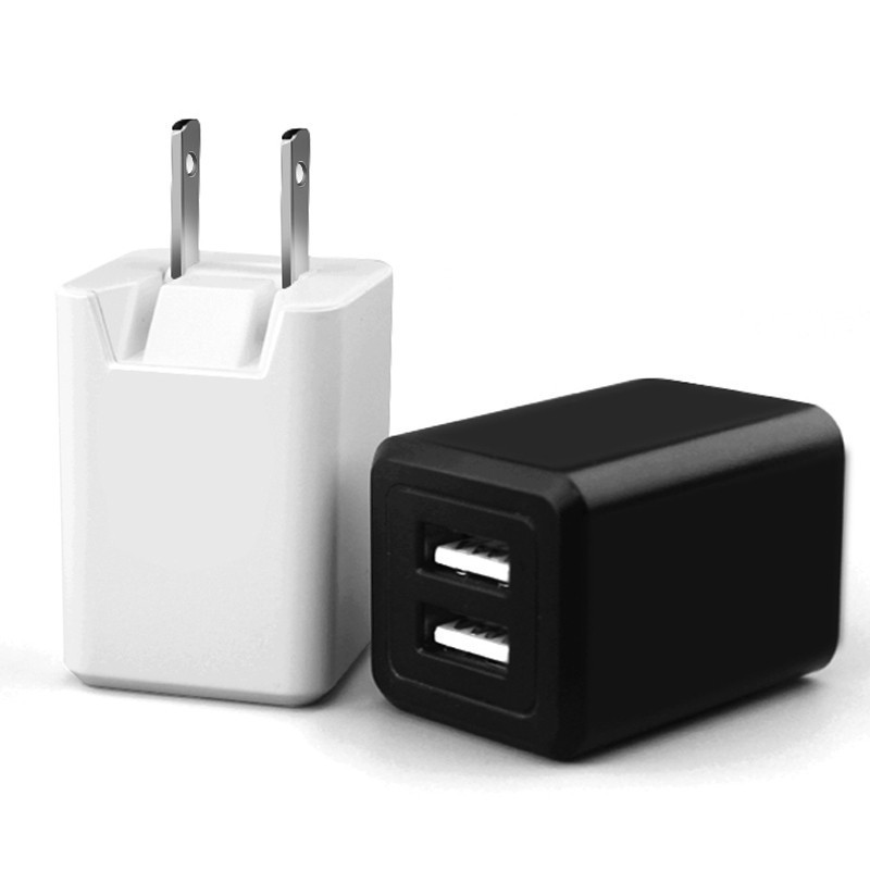 Portable Dual USB Folding US Plug Travel Wall Charger for Cellphone
