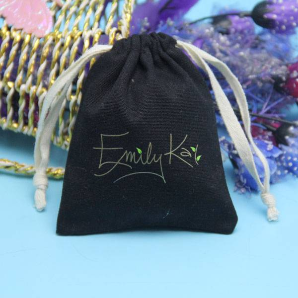 customized size black cotton drawstring bag wholesale