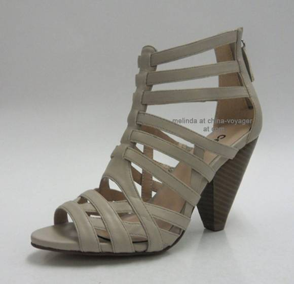 Gray Chunky Heel Fashion Sandals