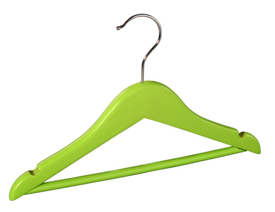 Wooden baby hangers green children's wooden suit hanger with bar