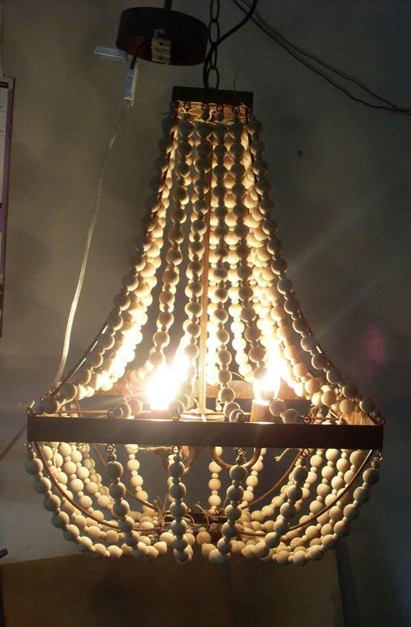 Elena Wood Bead Chandelier - mediterranean - chandeliers/wooden beads chandelier/nature wooden beads