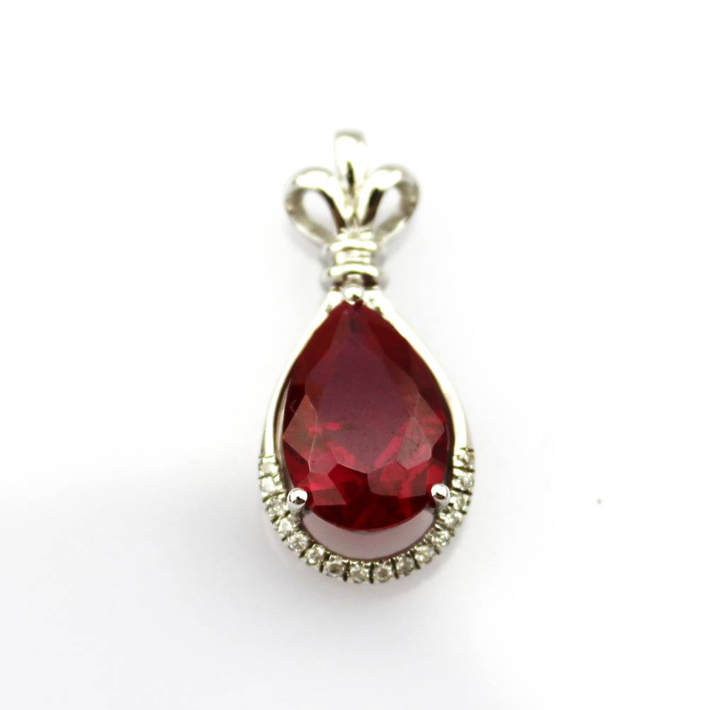 White Gold Plated and Ruby Pendant