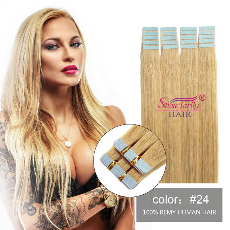 PU tape human hair extensions #24
