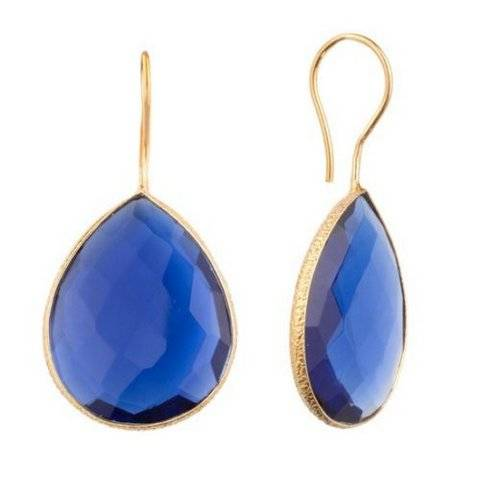 925 sterling silver Sapphire Hydro Gemstone Earring-Vermeil Gold
