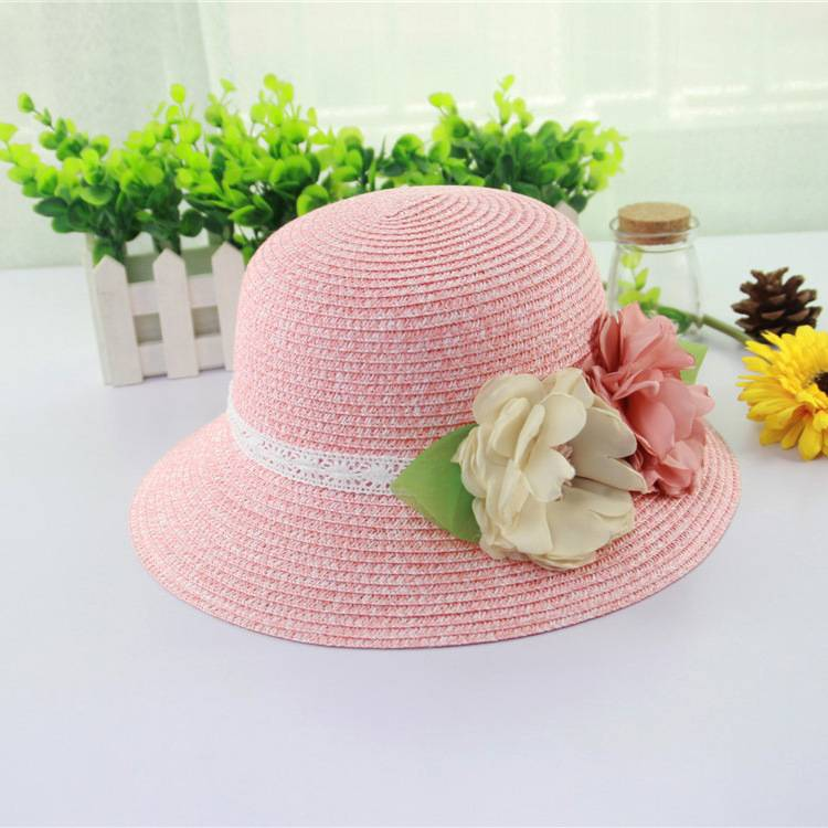 Handmade Natural Stylish Wide Brim Women Straw Hats Wholesale with Ribbon Decoration