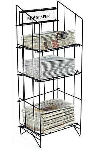 3-Tiered Wire Newspaper Rack for Floor, with Separate Header
