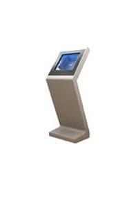 classic slim and sleek stainless steel touchscreen kiosk.
