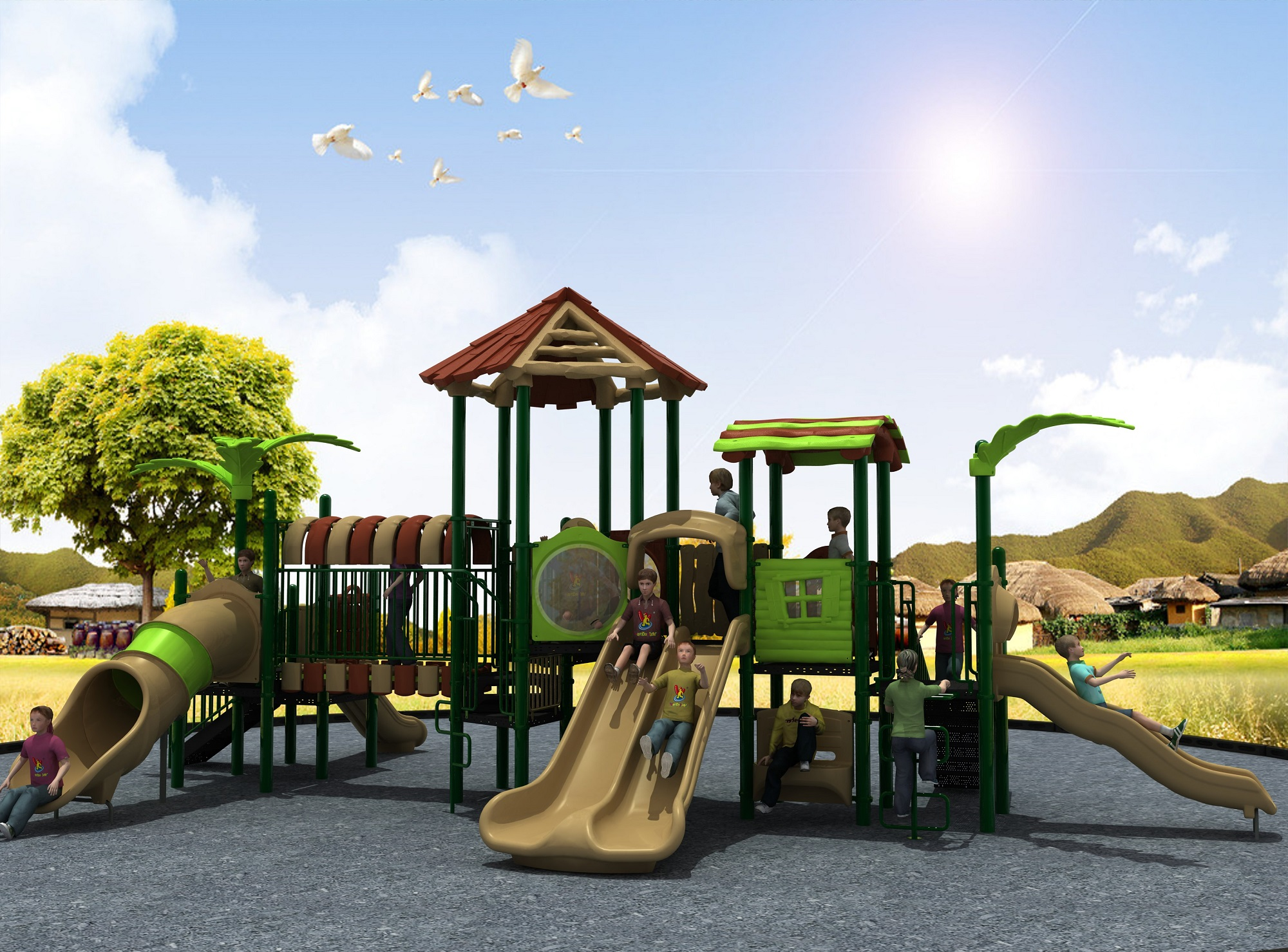 Hot Selling Playground Equipment Outdoor Combined Slide Forest Series TUV006