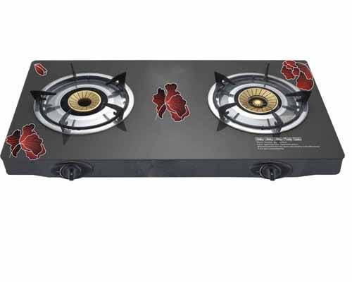 Durable Black Tempered Glass Table Gas Stove Cooktops with brass burner cap