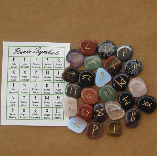 assorted gemstone runes
