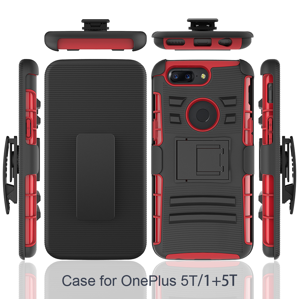 For OnePlus 5T Rugged Hybrid Dual Layer Protect Kickstand Full Cover Case with Video Watching Stand