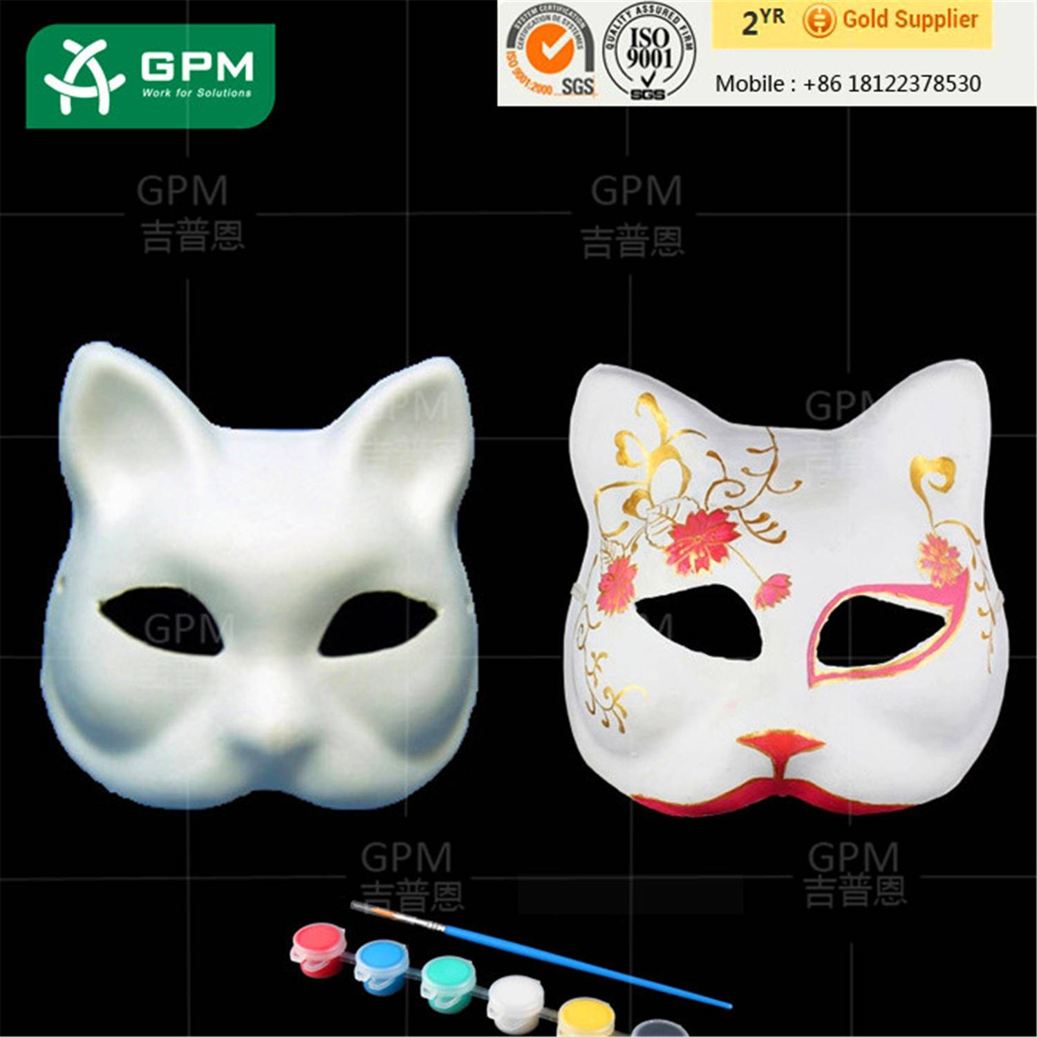 Paper Pulp Face Mask Masquerade Cosplay Draw Mask