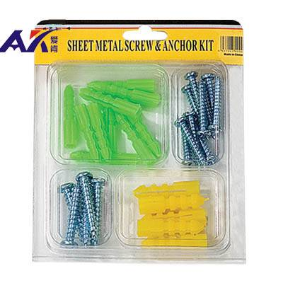 30PCS Assorted Anchors & Screws Kit With Different Color & Size