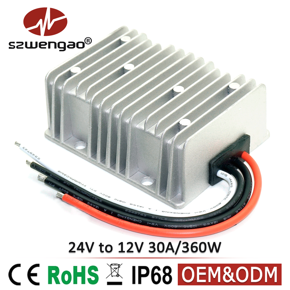 Waterproof Step Down DC DC Converter 24V TO 12V 30A 360W Car Power Supply