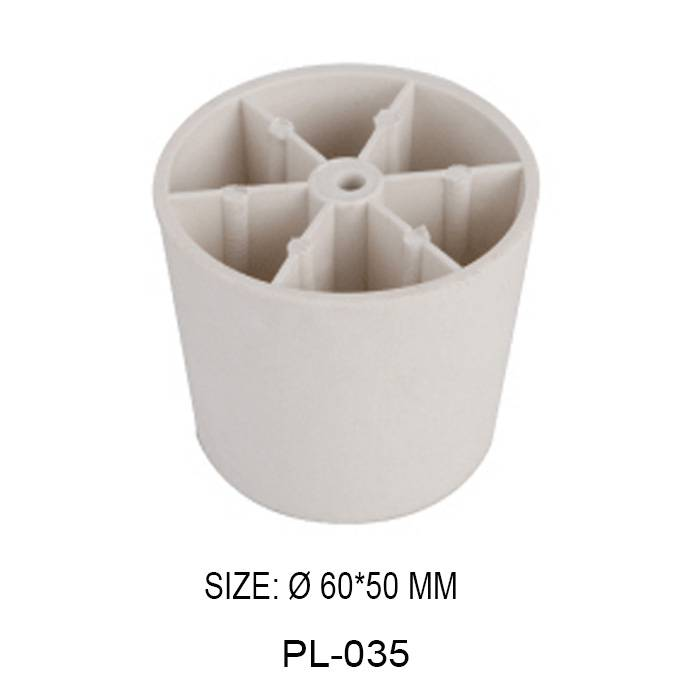 50 mm high white decorative furniture leg injection plastic round shape sofa leg cabinet leg