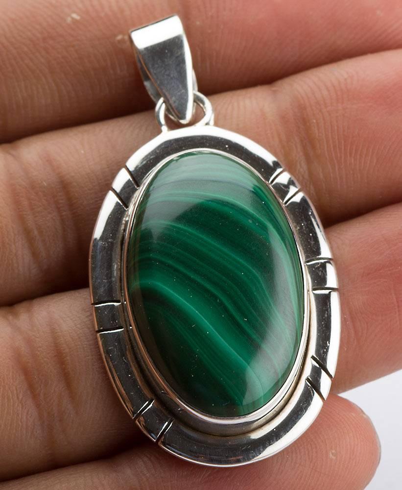 92.5 sterling silver Malachite pendant