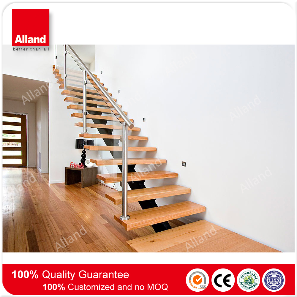 Interior glass railing wood step single beam straight stairs