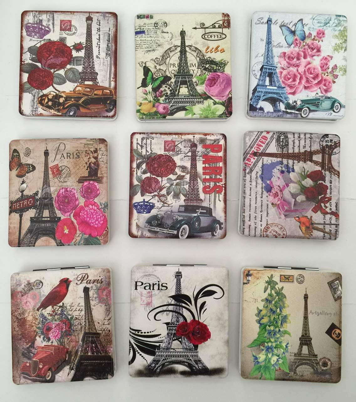 Eiffel Tower Printing PU Compact Mirror Promotion Gift Mirror