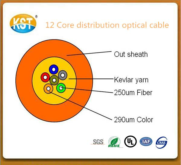 Indoor optical cable/2-24 cores 12 Core Distribution Loose Tube Optical Cable