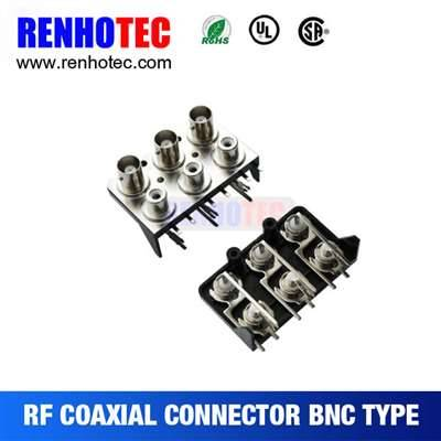Three BNC To RCA Jack Connectors In Two Rows