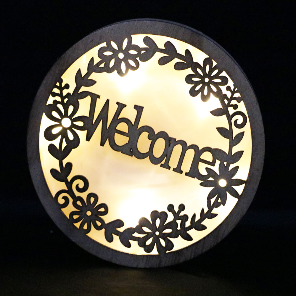 wooden wall plague with welcome party indoor decoration led wall decorative lighting