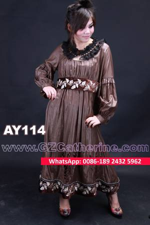 Brown Chiffon Embroidery Burning Flowers Hijab Kaftan for Winter 2016