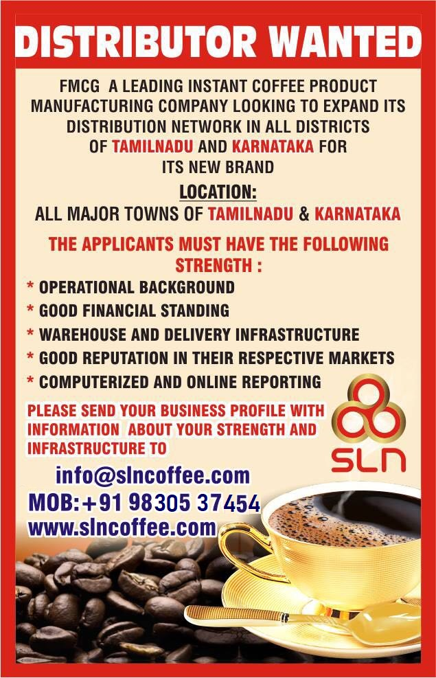 Wanted Distributor for Coffee