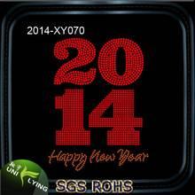 2014 Happy New Year Rhinestone Appliques T-shirt Iron On Transfers