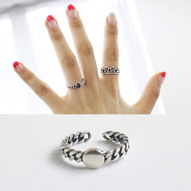 Round Face Chain Adjustable 925 Sterling Silver Ring