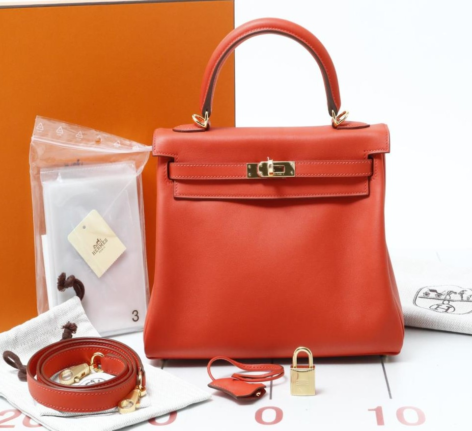 Used brand designer HERMES Kelly Swift Leather Handbags for bulk sale.