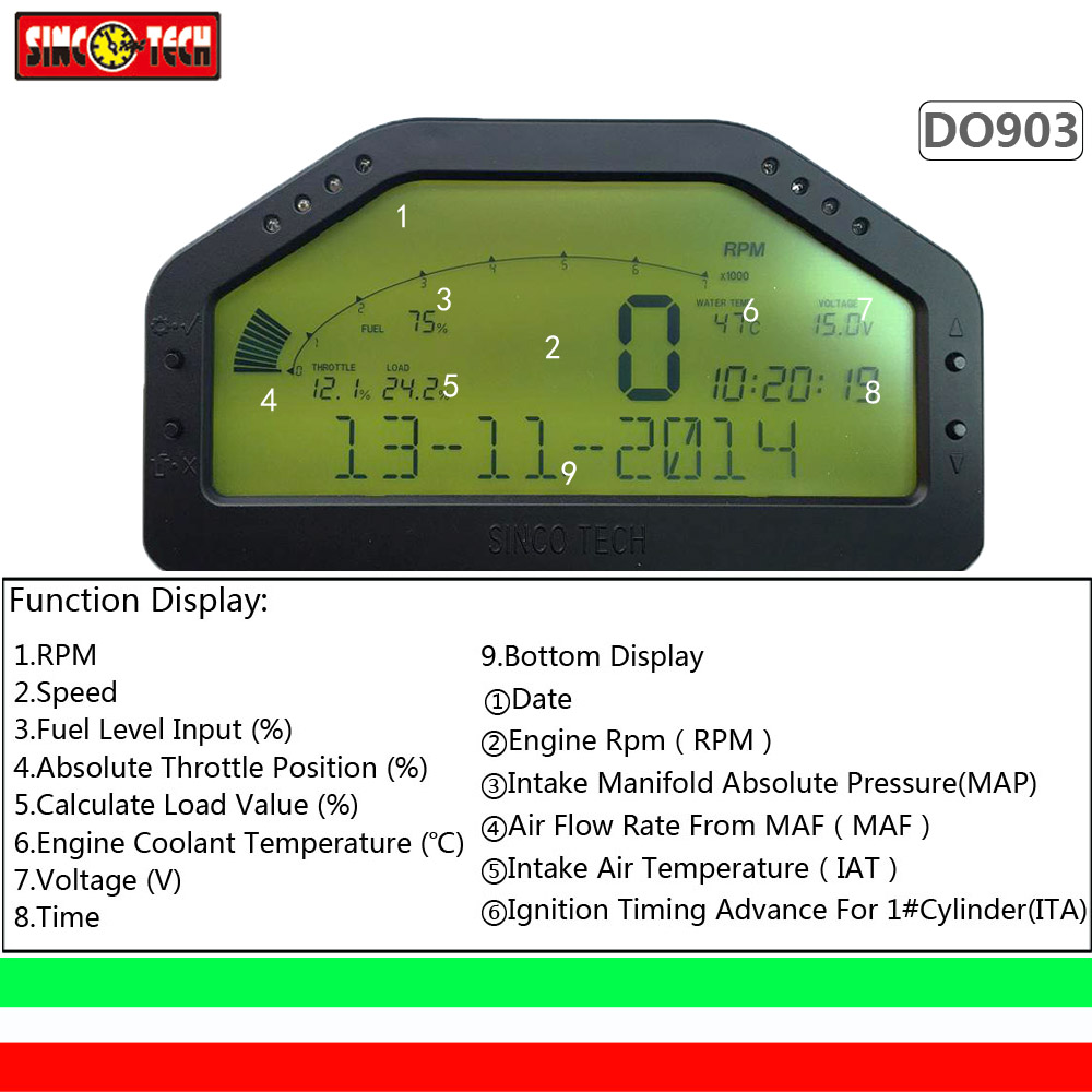 DO903 OBD dashboard gauges, luetooth function modification vehicle, instrument speed, fuel voltage,
