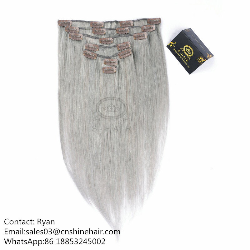 Clip In Hair Extension #1B/ Gray