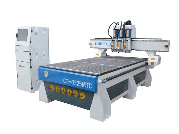 1325 vaccum table three  process  woodworking cnc router with 3 spindles