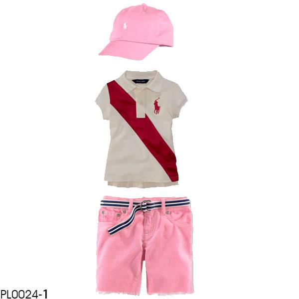 POLO girl's 3pcs clothing set, children clothing set