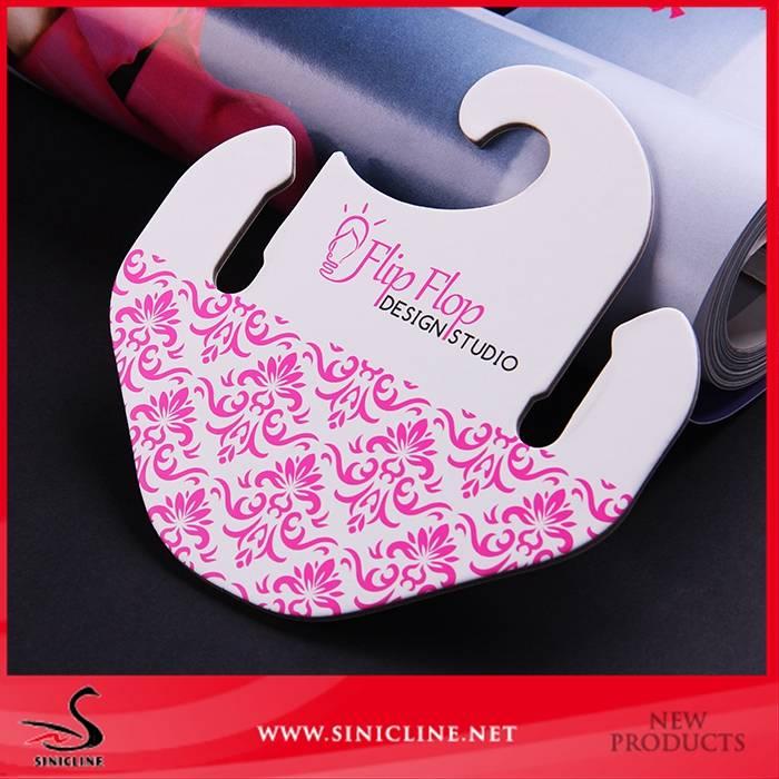 Sinicline fashion design paper flip flop cardboard hanger with logo printed