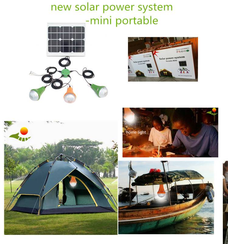 Portable solar system solar light with phone charge and 3*3w led solar light