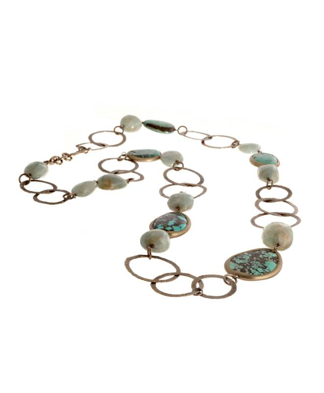CIRCLES NECKLACE TURQUOISE BRONZE SILVER