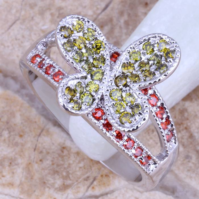 Girls cz stone engagement rings butterfly design fashion jewelry
