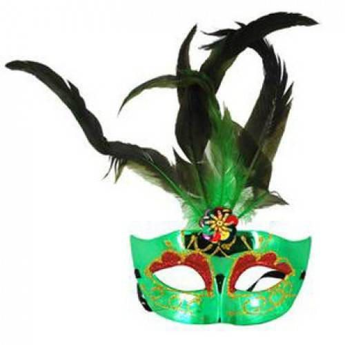Christmas & Halloween Colorful Feather Face Mask