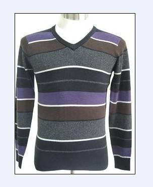 Men v ncek wool sweater with stripe