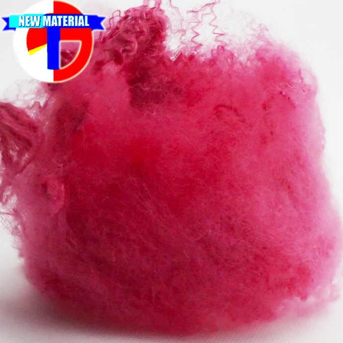 Dope Dyed Red Recycled Polyester Fiber 1.5Dx38mm for Spinning
