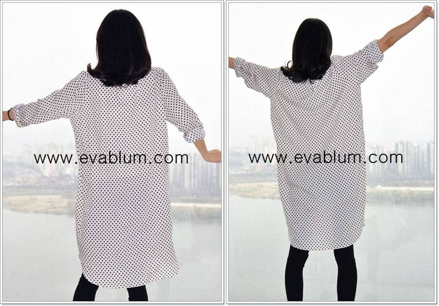 Dotted casual boxy onepiece dress