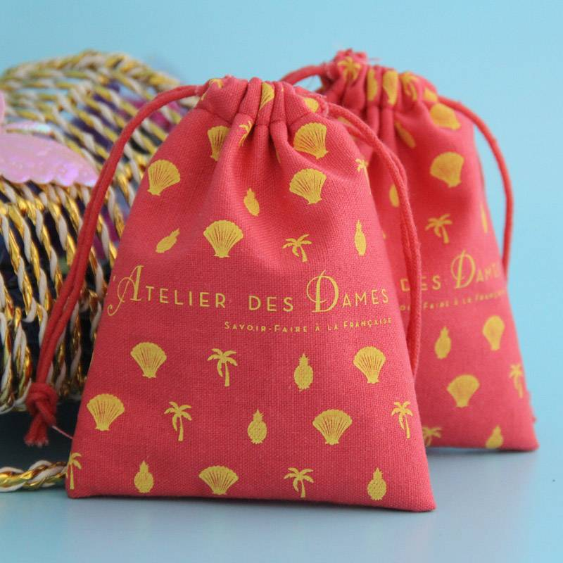 beautiful full printing cotton drawstring pouch wholesale
