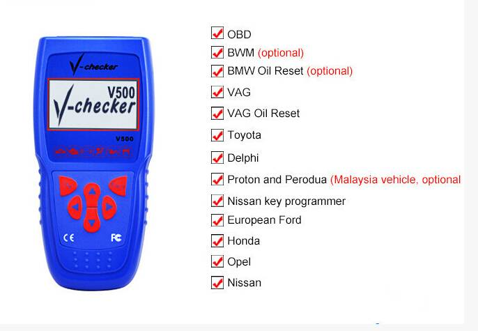 V-Checker V500 Vehicle Diagnostic Scanner 9-In-1 For European North American Asian Cars
