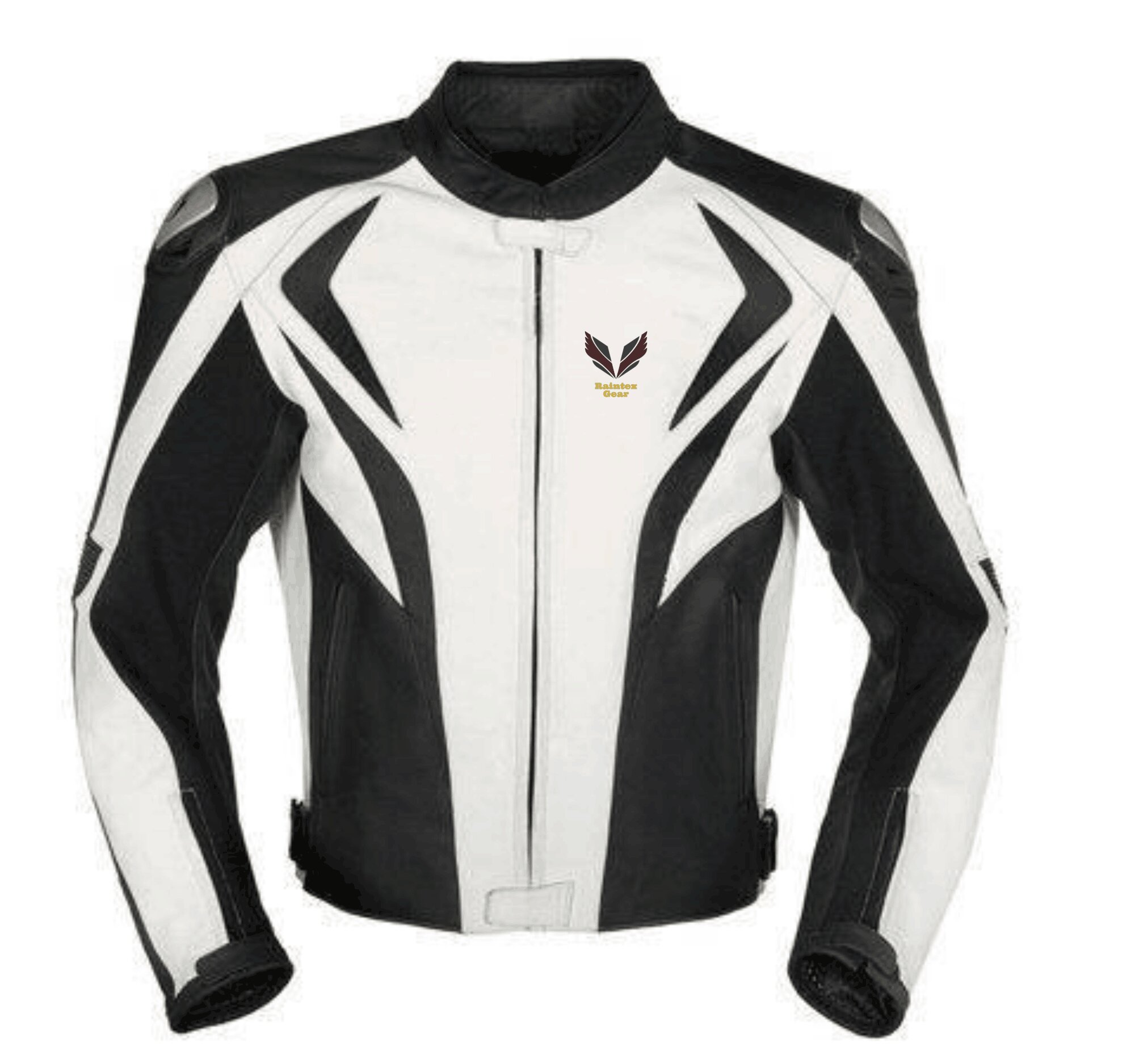 Black and white motorycle jacket with armor protection
