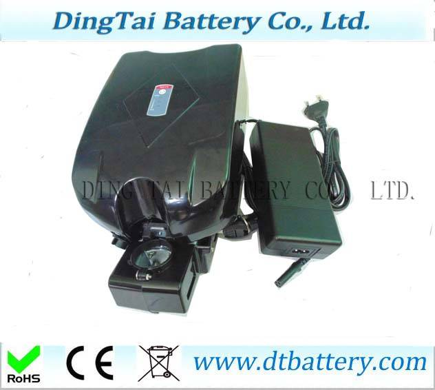 Frog Type 36V 10Ah Lithium ion Ebike Battery with 2A 42V charger