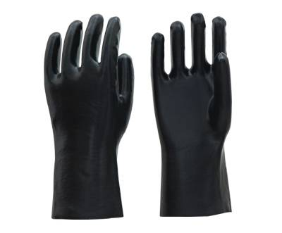 30cm black smooth fninished PVC working safety gloves