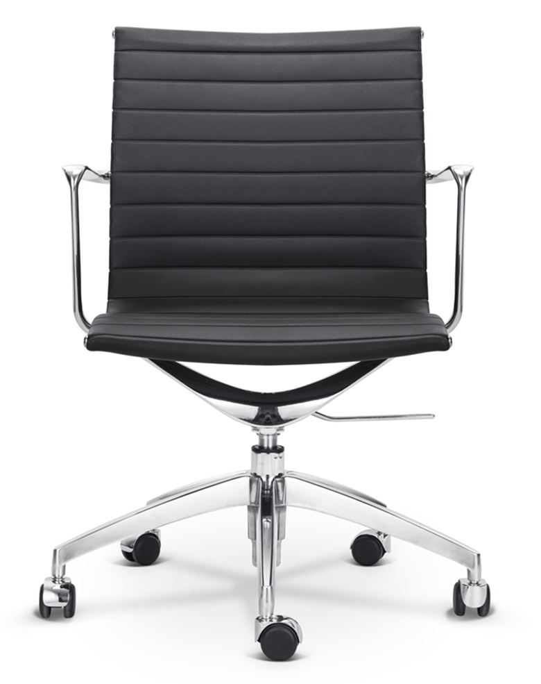 Modern Classic Mid-back Office Chair Leather