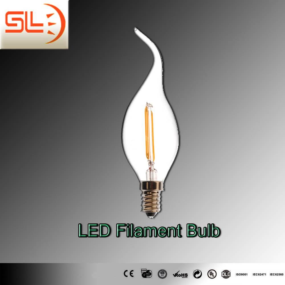 LED Filament Bulb Light, Candle Light, 2W E14